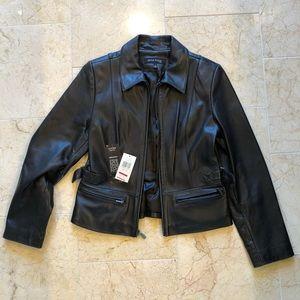 Anne Klein lamb skin leather motor jacket